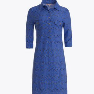 Susanna Shirt Dress in Periwinkle Garden Gate Prin